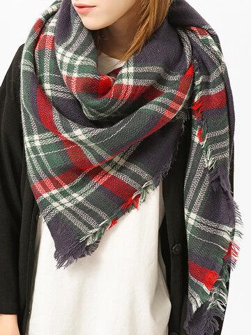 Women Plaid Blanket Scarf Basic Shawls
