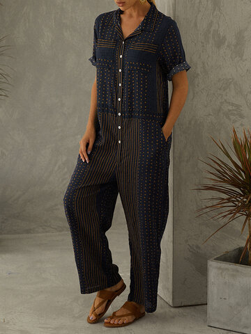 Striped Polka Dot Print Jumpsuit