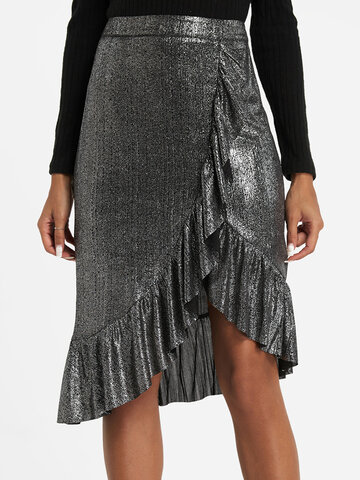 Solid Color Asymmetrical Ruffle Skirt