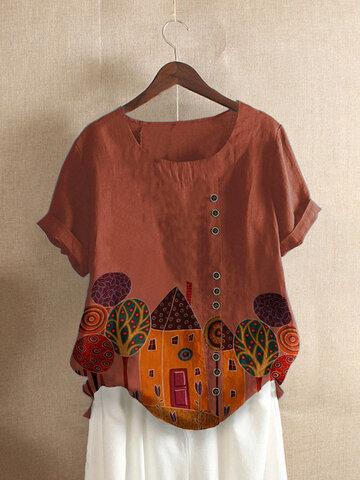 Women Print Casual T-shirts