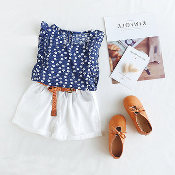 2Pcs Girls Floral Chiffon Short Set For 2-9Y