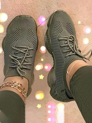 Breathable Knitted Fabric Running Sneakers