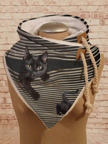 Women Stripe Cute Cat Pattern Soft Adjustable Scarf