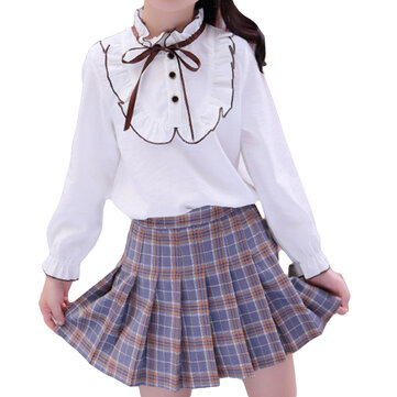 Girls Shirt Pleated Skirt Sets For 4-15Y