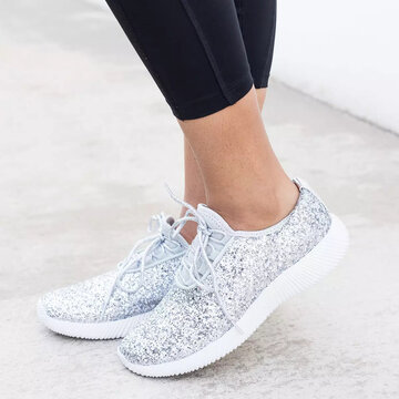 Walking Sequined Lace Up Flat Sneakers