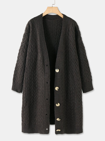 Solid Button Loose Knitted Cardigan