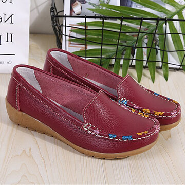 Leather Slip On Casual Flat Loafers