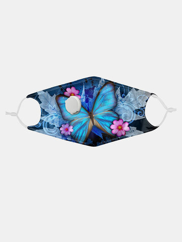 Butterfly Print Breathing Valve Mask PM2.5 Filter Gasket