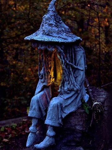 1 STÜCK Halloween LED Harz Sitzende Hexe Seele Statue Lichter Outdoor Yard Garden Decor Tischlampen Nachtlicht Ornamente Für Zuhause