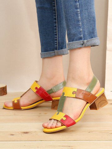 LOSTISY Color Block T Shape Opened Toe Elastic Band Chunky Heel Sandals
