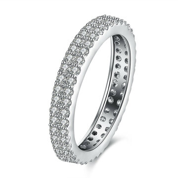 Simple Wedding Ring Silver Platinum Full Zircon Ring for Women Gift