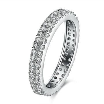 Anello di cerimonia nuziale semplice dell'anello di zirconio del platino d'argento per il regalo delle donne