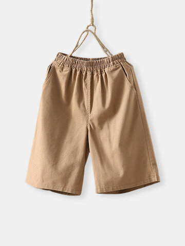 Solid Color Elastic Waist Shorts