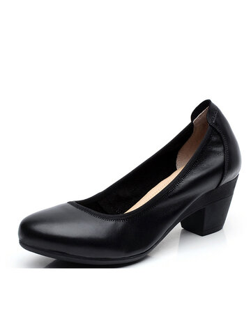 SOCOFY Chocolate Color Soft Leather Pumps