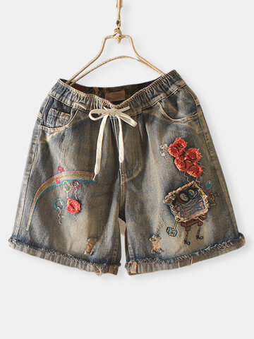 Embroidery Patch Short Jeans