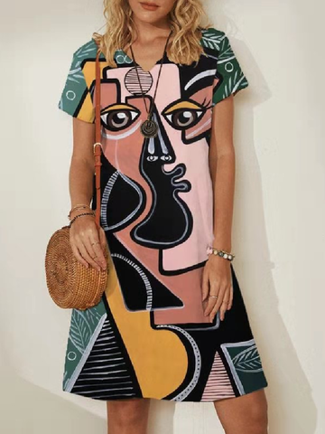 Abstract Print V-neck Midi Dress