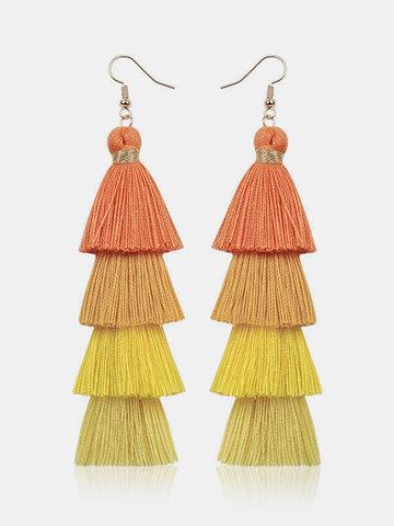 Handmade Multi-layer Tassel Earrings