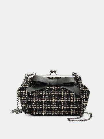 Women Stylish Chain Woolen Cloth Bowknot Hasp Shoulder Bags Evening Bags Crossbody Bags