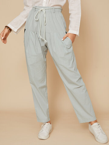 Solid Color Pleated Knotted Pants