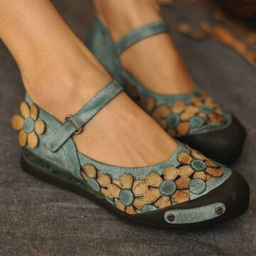 Flowers Round Toe Hook Loop Flats