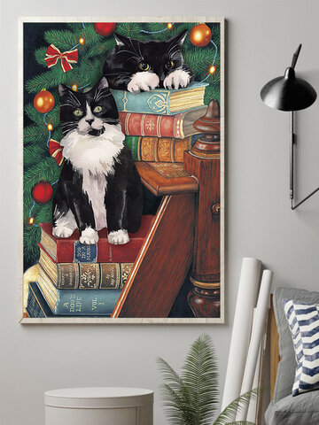 Christmas Cats Canvas Painting Unframed Wall Art Canvas Living Room Home Decor