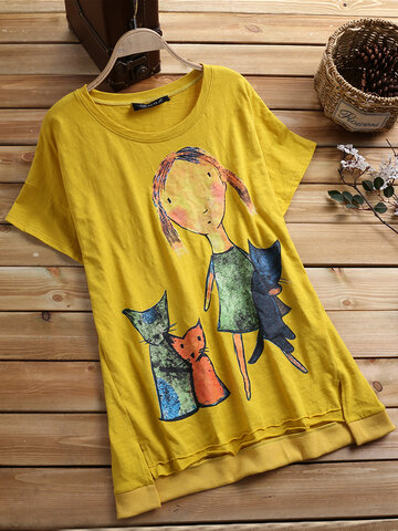 T-shirt casual con stampa cartoon alta bassa