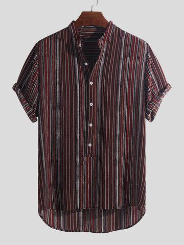 Bedruckte Henley-Shirts im ethnischen Stil für Herren