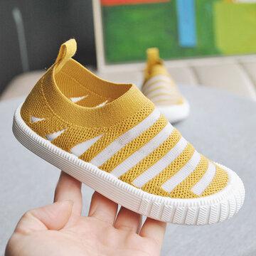 Unisex Kids Breathable Comfy Soft Sole Slip On Flat Shoes