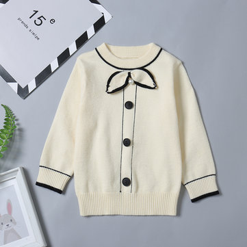 Girls Patchwork Knit Sweater For 1Y-7Y