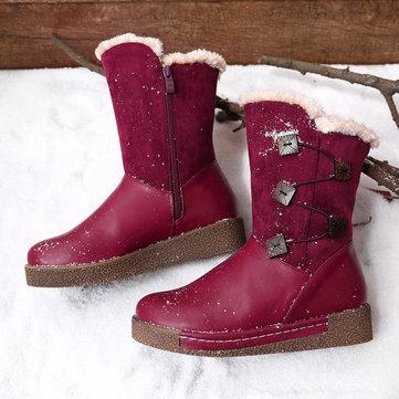 LOSTISY Mid Calf Fur Lining Boots