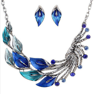 Trendy Leaves Crystal Jewelry Sets