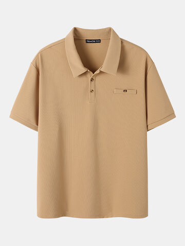 Plus Size Solid Textured Golf Shirts