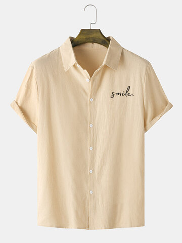 Smile Embroidery Button Up Shirts