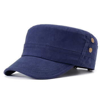 Unisex Cotton Rivet Wild Flat Top Cap, Blue green