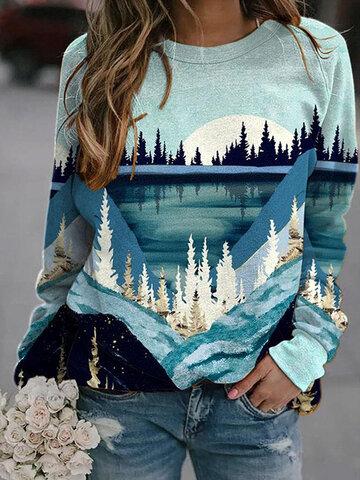 Landscape Print O-neck Sweatshirt