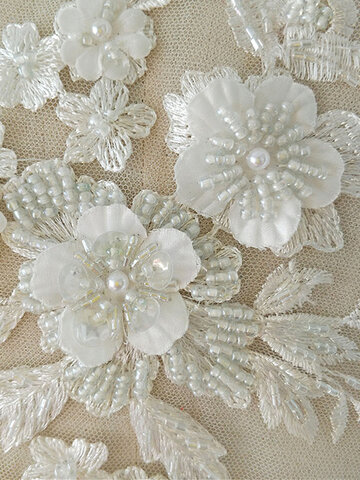 Fabric 3D Flowers Pearl Beaded Lace