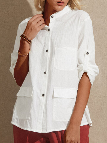Solid Color Stand Color Blouse