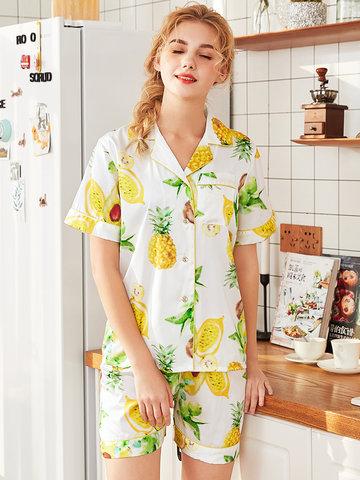 Фруктовая печать Шелковая короткая комфортная пижама