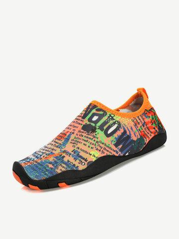 Big Size Stripe Colorful Letter Soft Sport Swimming Yoga Slip On Flat Shoes