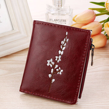 Women PU Leather Vintage Embossed Short Wallet