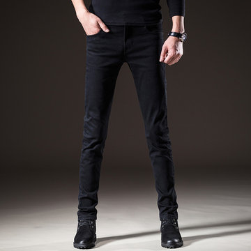 Season Men's Black Jeans Men's Slim Feet Trend Men's Pants Trousers Casual Pants Men Was Thin