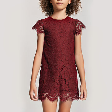 Solid Color Girls Lace Dress For 3-11Y