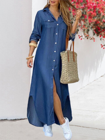 فستان بأزرار مطبوعة
