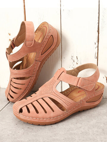 Hollow Out Hook Loop Wedges Sandals