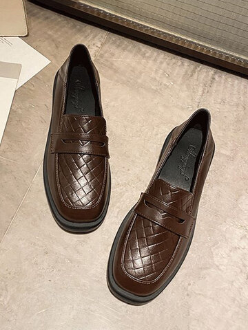 Casual Argyle Pattern Antiskid Loafers Shoes