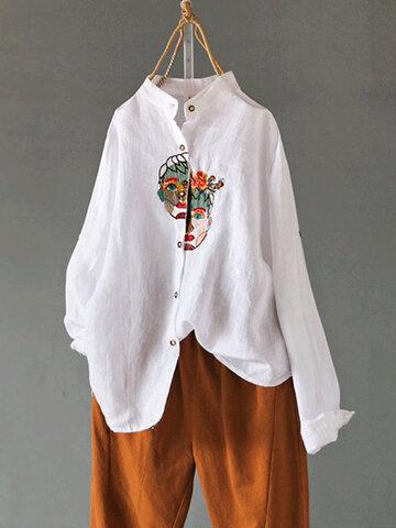 Вышивка блузкой с длинным рукавом