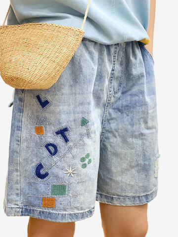 Letter Embroidery Short Jeans