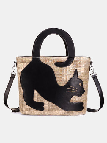 Cat Pattern Straw Handbag