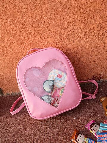 Girls Transparent Candy Color Backpack Woman Nylon Shoulder