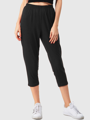 Plus Size High Elastic Cropped Pants